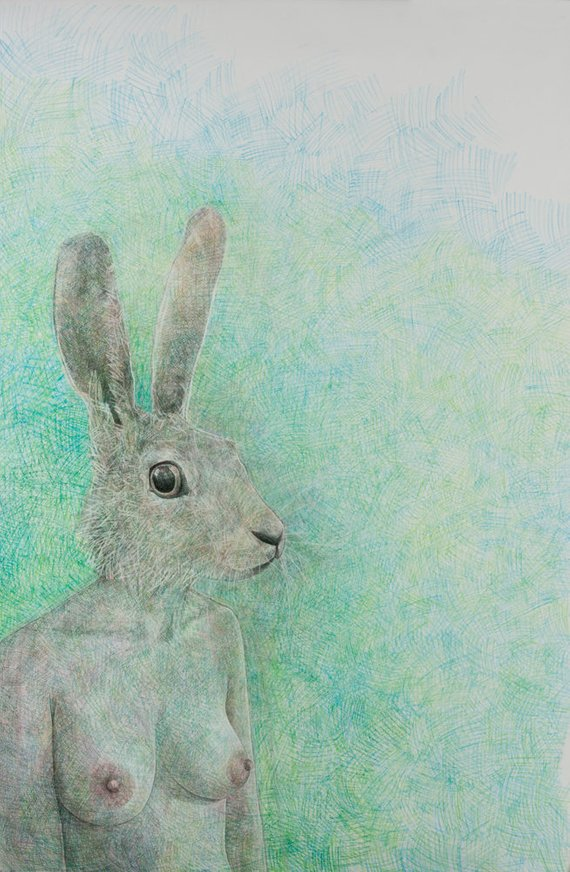 No More Rabbits Drawing - Origianl Work by Leigh D Walker